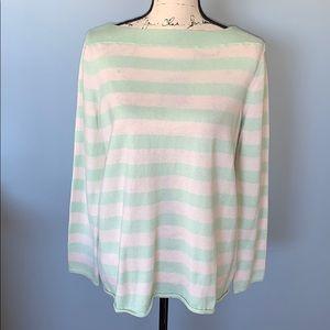 GAP white & sea foam striped sweater large